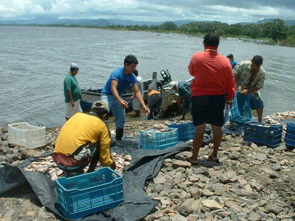 Visvangst in Puerto Diaz bij Juigalpa