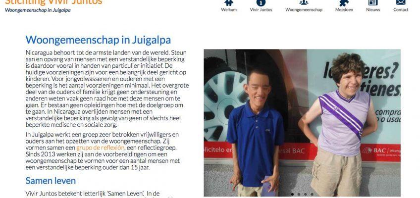 [:nl]Screenshot van website van stichting Vivir Juntos[:]