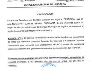 Aanbevelingsbrief gemeente Juigalpa