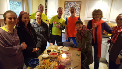 Tea and snacks after 'mission completed'. Eric finished his run in Ruach colours